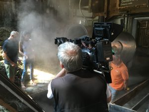 """Schweißtreibende Dreharbeiten in Italien für """"Aufguss""""."""
